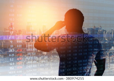 Abstract business stock communication background, man thinking of the future plan. - stock photo