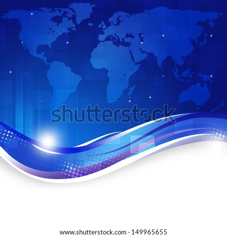 abstract business world map technology blue background