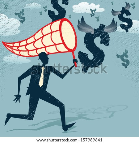 Abstract Businessman chasing and netting Dollars. Great illustration of Retro styled Businessman catching all the money with his giant cash catching net. - stock photo