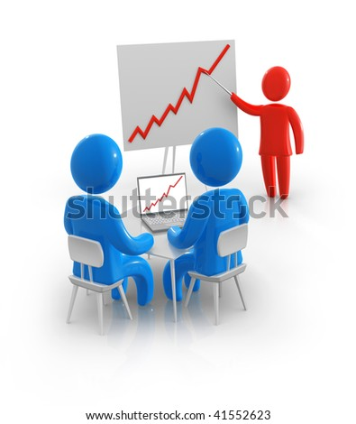 Abstract businessman explaining progress on graph. - stock photo