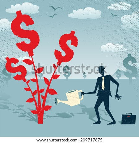 Abstract Businessman grows a Dollar Tree.  Great illustration of Retro styled Businessman nurturing a Dollar Tree with his watering can. - stock photo