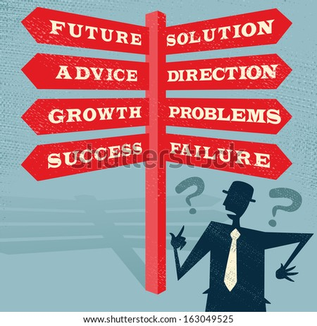 Abstract Businessman has Choices at the Crossroad. Great illustration of Retro styled Businessman with a selection of Business related options and choices to make.  - stock photo