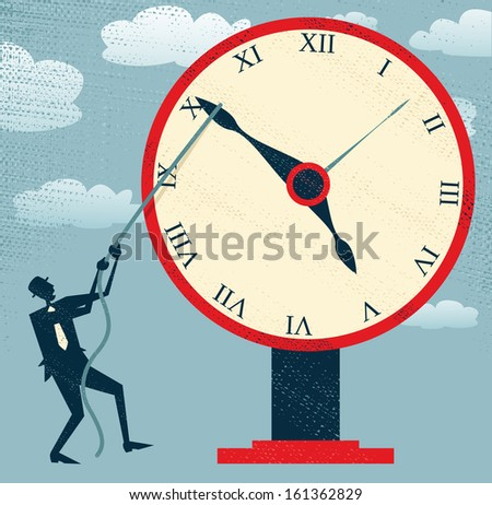 Abstract Businessman holding back Time. Fantastic illustration of Retro styled Businessman desperately trying to hold back time so he can make an important deadline.  - stock photo