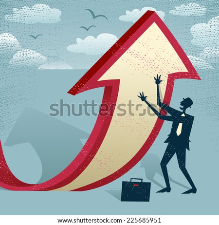 Abstract Businessman manipulates the figures. Great illustration of Retro styled Businessman cleverly changing the path of a huge arrow to suggest a positive increase.  - stock photo
