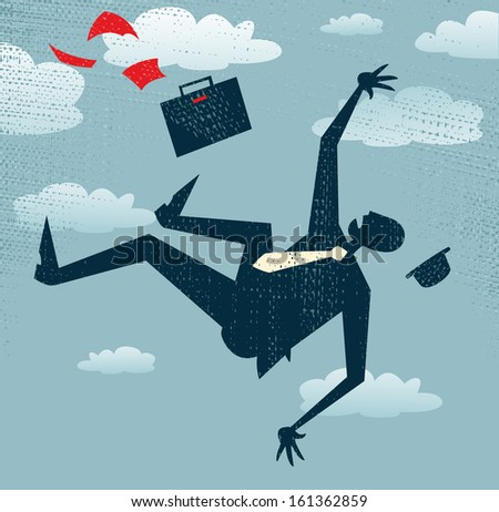 Abstract Businessman's career is in Free fall. Great illustration of Retro styled Businessman is in Free fall as his career takes a fall. - stock photo