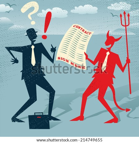 Abstract Businessman signs a Deal with the Devil. Great illustration of Retro styled Abstract Businessman who is deciding whether to sign away his life in a deal with the devil. - stock photo