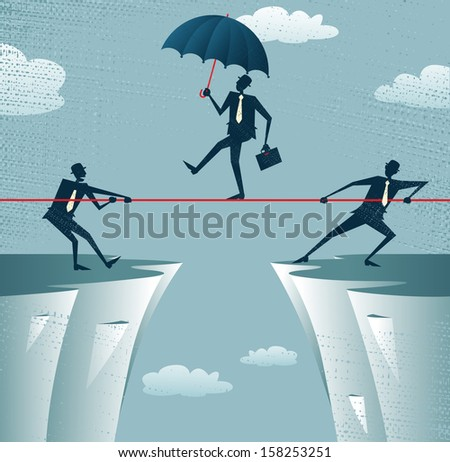 Abstract Businessmen Pulling together on a cliff. Great illustration of Retro styled Businessmen helping and pulling together to assist their stranded colleague on the top of the cliffs. - stock photo