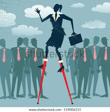 Abstract Businesswoman has an advantage. Great illustration of Retro styled Businesswoman who has got an advantage over her rivals by using lateral thinking to give her an edge. - stock photo