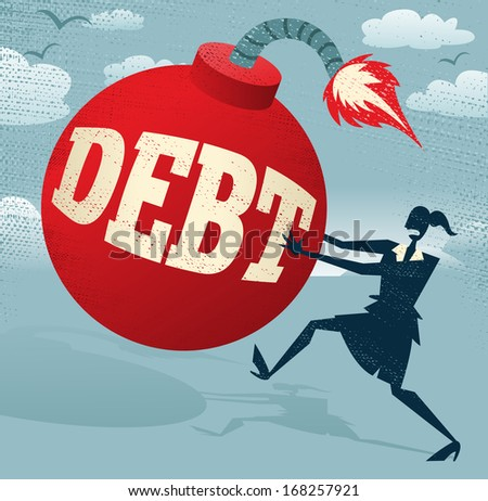 Abstract Businesswoman with Huge Debt Bomb. Great illustration of Retro styled Businesswoman running for her dear life to get rid of the gigantic metaphorical Debt bomb. - stock photo