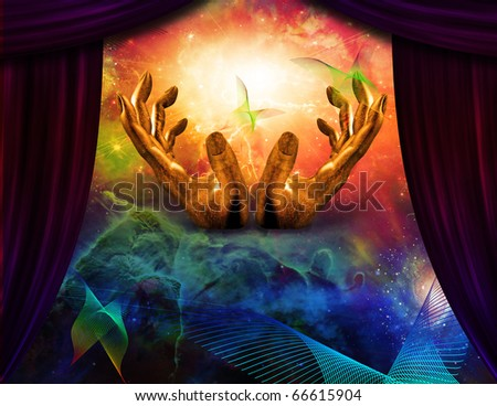 Abstract butterfly and curtain reveals hands - stock photo