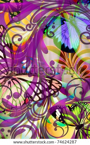 abstract butterfly illustration with colorful swirl overlays and floral leaf textures - stock photo