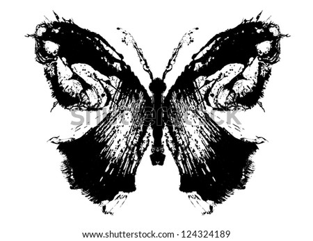 Abstract butterfly. Stylized image of a butterfly painted rough brush strokes - stock photo