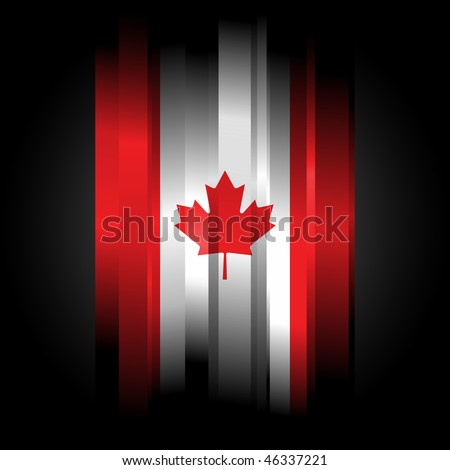 Abstract Canada Flag on black background - stock photo