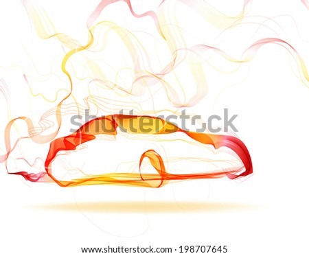 Abstract car color lines over white - stock photo