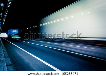 Abstract car in the tunnel trajectory - stock photo