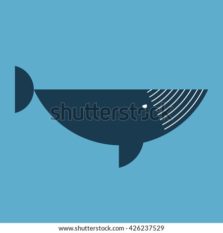 Abstract cartoon whale. Abstract cartoon whale. Geometric whale - a side view. Humpback whale painted of the hemispheres. Flat whale dark blue color. An adult whale swimming in the water. Logo. Icon. - stock photo