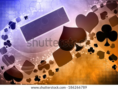 Abstract casino and poker invitation advert background with empty space - stock photo