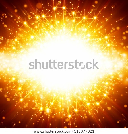 Abstract celebration background - bright orange lights, flash, illumination - stock photo
