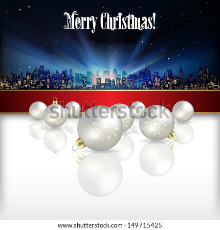 Abstract celebration background with silhouette of city and Christmas decorations - stock photo