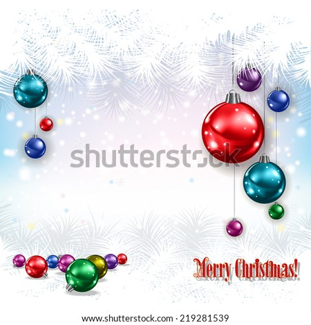 abstract celebration greeting with Christmas decorations on white background - stock photo