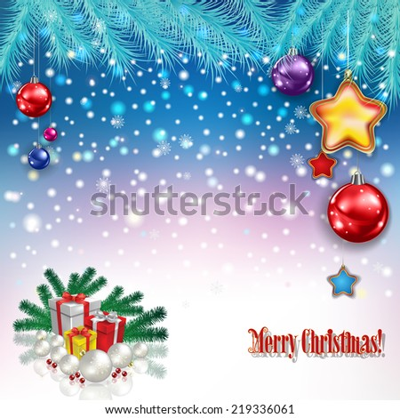 abstract celebration greeting with Christmas gifts and decorations - stock photo
