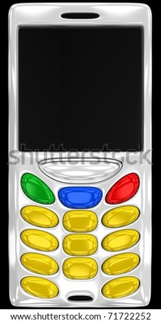 abstract cell phone with empty buttons - stock photo