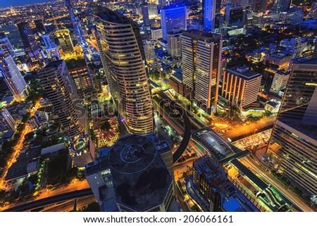 Abstract center of bangkok cityscape, building - stock photo