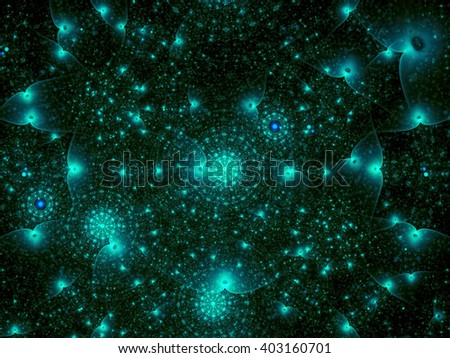 Abstract chaos technology background - computer-generated image. Fractal artwork: chaos rings, glowing dots and curves. Modern fractal background for web-design, covers and posters. - stock photo