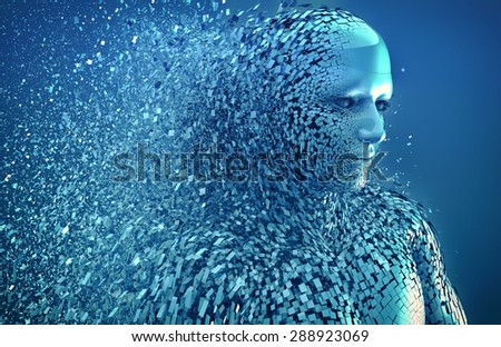 abstract character shattered into pieces - stock photo