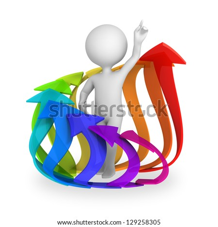 Abstract character surrounded with circle of rising arrows. 3d render isolated on white background. - stock photo