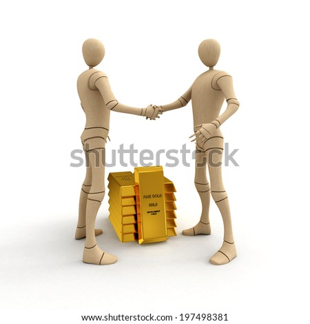 Abstract characters making deal with stack of golden bars 3d rendered isolated on white background - stock photo