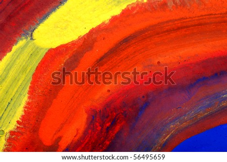Abstract children's drawing water color paints on paper - stock photo