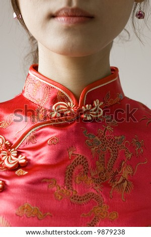 abstract chinese cheongsam costume - stock photo