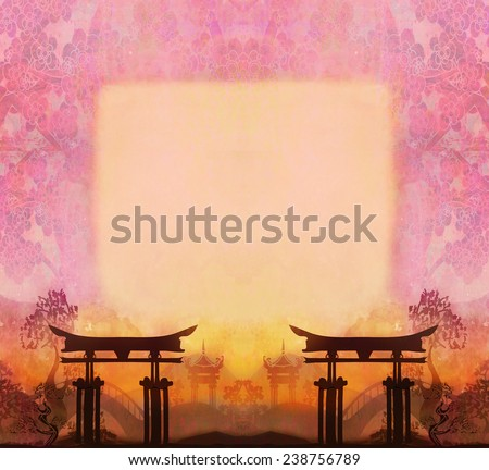 abstract Chinese landscape with a frame in the background - stock photo