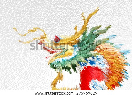 Abstract Chinese style dragon statue soft focus,Chinese Dragon Wrapped around red pole - stock photo