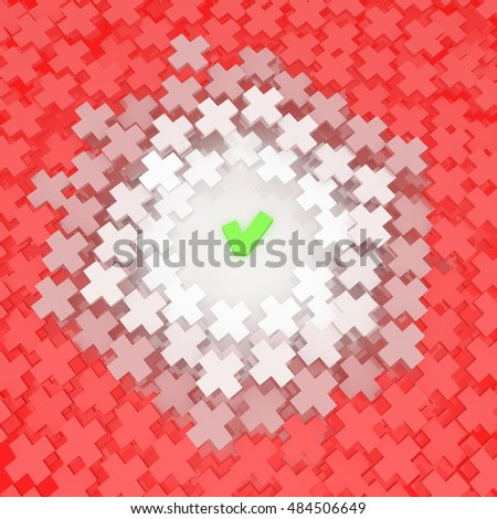 Abstract choice check mark and cross symbol, 3d illustration, over white, square