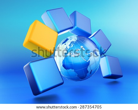 Abstract choice concept, selected segment block icon around planet Earth globe on blue background - stock photo