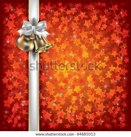 Abstract Christmas background with bells and white gift ribbons
