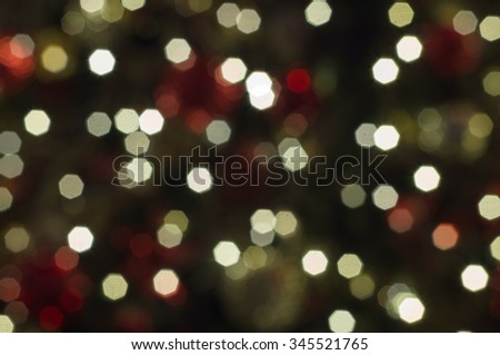 Abstract christmas background with defocused octagon lights - stock photo