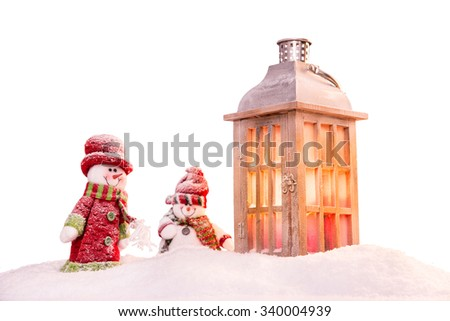Abstract Christmas background with lantern and falling snow flakes - stock photo