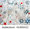 Abstract Christmas background with silver snow flakes - stock photo