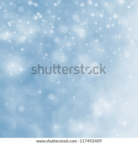 Abstract Christmas background with snowflakes - stock photo