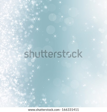 Abstract Christmas background with snowflakes and holiday lights  - stock photo