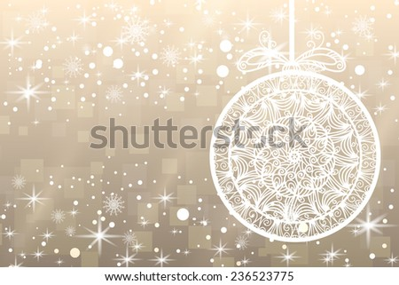 Abstract Christmas background with snowflakes, ball and shiny stars in white and gold color. New year lights, starry sky  - stock photo