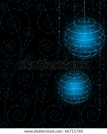 Abstract christmas background with transparent balls - stock photo