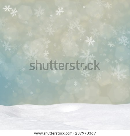 Abstract Christmas background with various snowflakes and snowdrift - stock photo