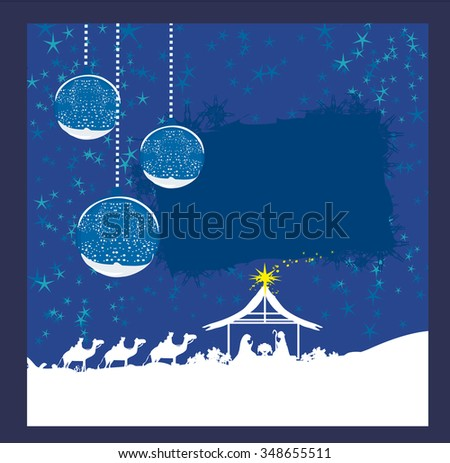 abstract Christmas card - birth of Jesus in Bethlehem.  - stock photo