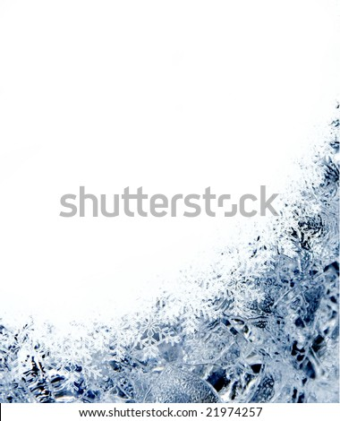Abstract Christmas card frame with ice and snowflakes - stock photo