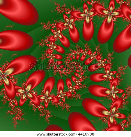abstract christmas flower spiral - stock photo