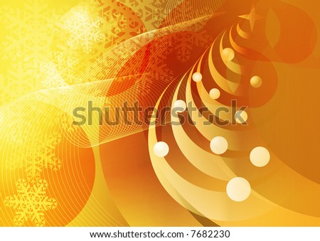 Abstract Christmas Golden Background. - stock photo